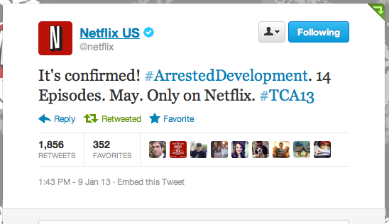 The Netflix Twitter account made fans of Arrested Development very happy this afternoon.