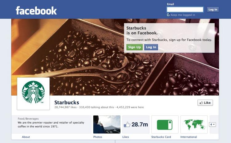 Starbucks is one of the first companies to use Timeline on Facebook, with this page appearing on Wednesday. Facebook is expected to require all Facebook Pages, the way most businesses host sites on the social network, to make the switch by March 30.
