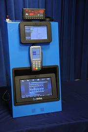 The $35 million-plus Taxicab Smart Meter System contract awarded to VeriFone in Washington, D.C., includes, from top, a taximeter and driver tablet, payment card acceptance system, and 10-inch tablet passenger information module that will stream news, weather, local and national content.