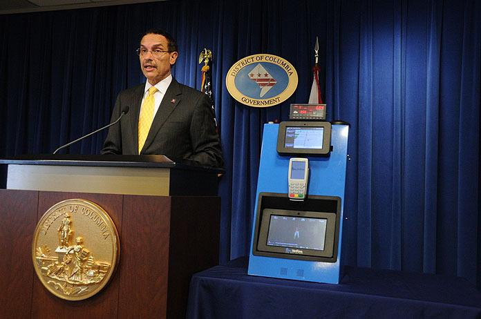 VeriFone stock jumped more than 10 percent after Washington, D.C., Mayor Vincent Gray announced it will provide video information systems for all 6,500 taxis in the city.