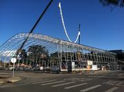 Construction has moved quickly on the temporary Warriors arena in Santa Cruz.