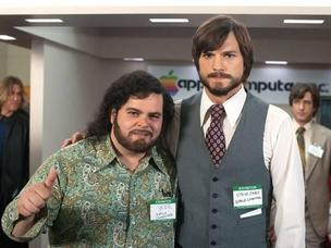 Actors Josh Gad, right, and Ashton Kutcher will speak at iWorld on their new film, jOBS.