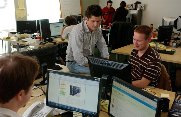 Box.net CEO Aaron Levie, seated on desk, has reportedly rejected a $500 million buyout offer from an unnamed suitor.