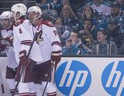 Sharks fan boos the Coyotes at HP Pavilion Thursday night.