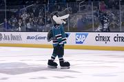 Speaking off, Sharky took the ice to pump up the crowd.