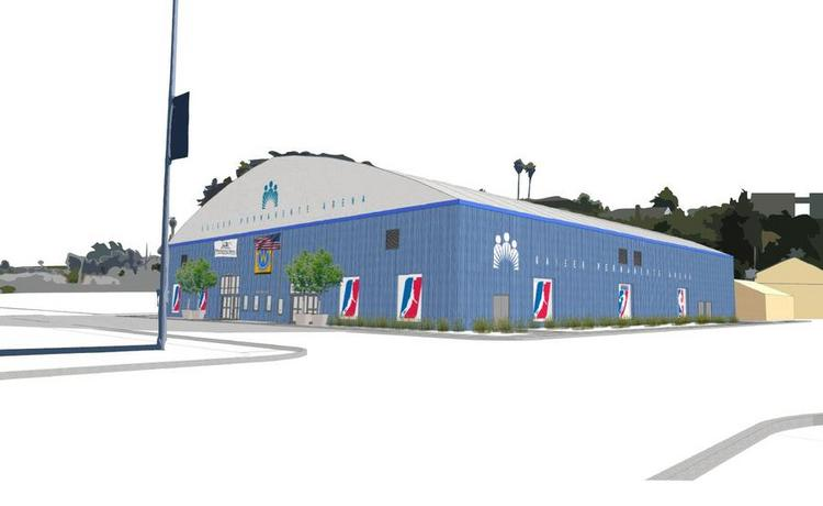 An exterior rendering of the Santa Cruz Warriors basketball arena in Santa Cruz.