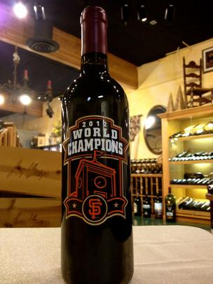 One of 300 limited edition Giants 2012 World Series bottles of merlot being sold at San Jose specialty wine shop Joseph George.