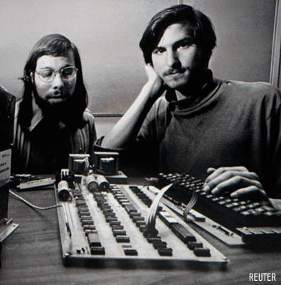 Apple's first computer sold for $374,500 at a Sotheby's auction on Friday, more than double the expected price for one of only six working models thought to exist. They were hand built by Steve Wozniak (left) in 1976, shown with here Steve Jobs in a photo from that time.
