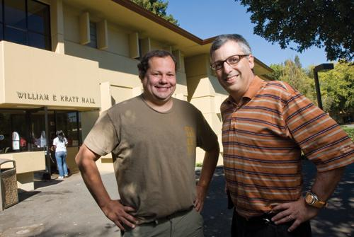 Gary Kremen, left, and Steve Bennet are two of the three founders of the new Menlo Incubator Inc., which is expected to serve as a hub for some of Silicon Valley's newest startups and a training ground for Menlo College students.