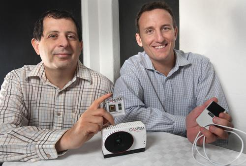 James Spare, left, is CEO and Cyrus Bamji, right, is chief technology officer of Canesta, a Mountain View company that won the Silicon Valley/San Jose Business Journal Emerging Technology Award for Augmented Reality.