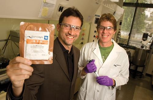 Nanosys CEO Jason Hartlove, left, and Director of Life Science R&D Hugh Daniels have a hemostat product that can clot blood instantly and may help keep a traumatically injured person alive long enough to get to a hospital.