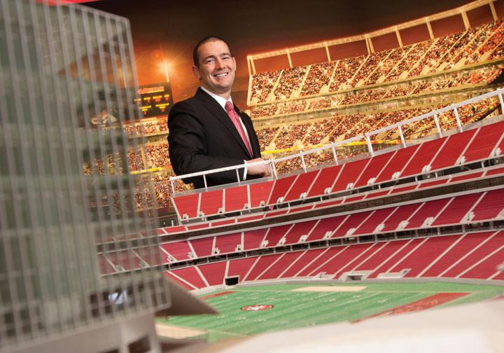 Al Guido, vice president with Legends Premium Sales, is overseeing the 49ers efforts to sell luxury box suites and seat licenses at the new stadium.