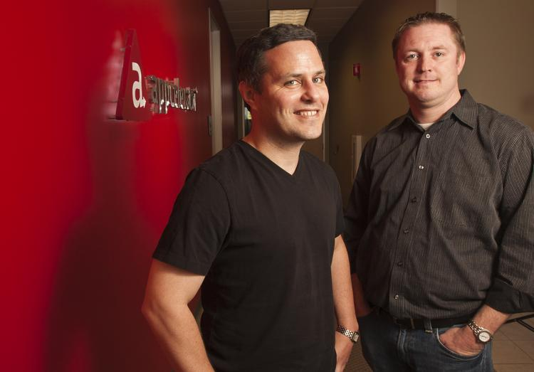 Appcelerator CTO Nolan Wright, left, and CEO Jeff Haynie, launched an innovation fund to help companies like Lanica Inc. develop a gaming platform.