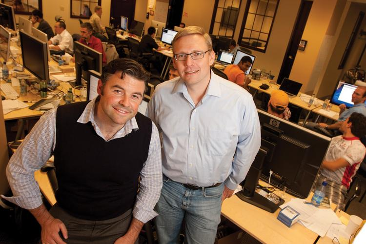 Kyle Forster, left, and Guido Appenzeller founded Big Switch Networks, a heavily funded Palo Alto startup working on software-controlled networking.