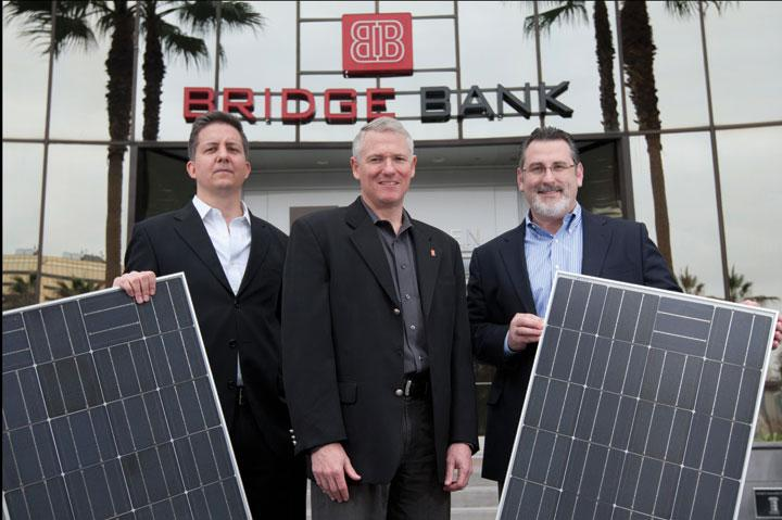 The Bridge Bank team, from left, Scott Reising, Timothy Boothe, and Dan Pistone, will be looking for new business in the renewal energy space.