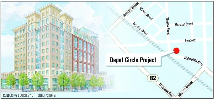 Map to Depot Circle project in Redwood City