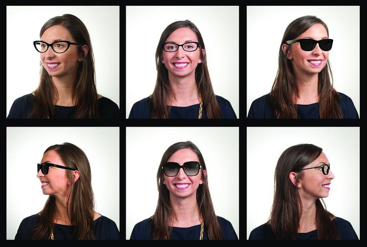 CEO Kate Endress models her company's technology, which lets customers try on virtual glasses through video.