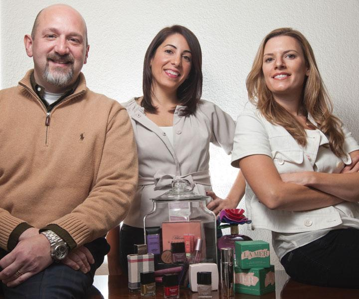 Glamrush co-founders (from left) Michael Alaniz, Muna Farhat and Catherine Magee all previously held management positions at Bare Escentuals Beauty Inc.