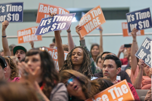 Supporters for a wage hike filled a recent San Jose City Council meeting.