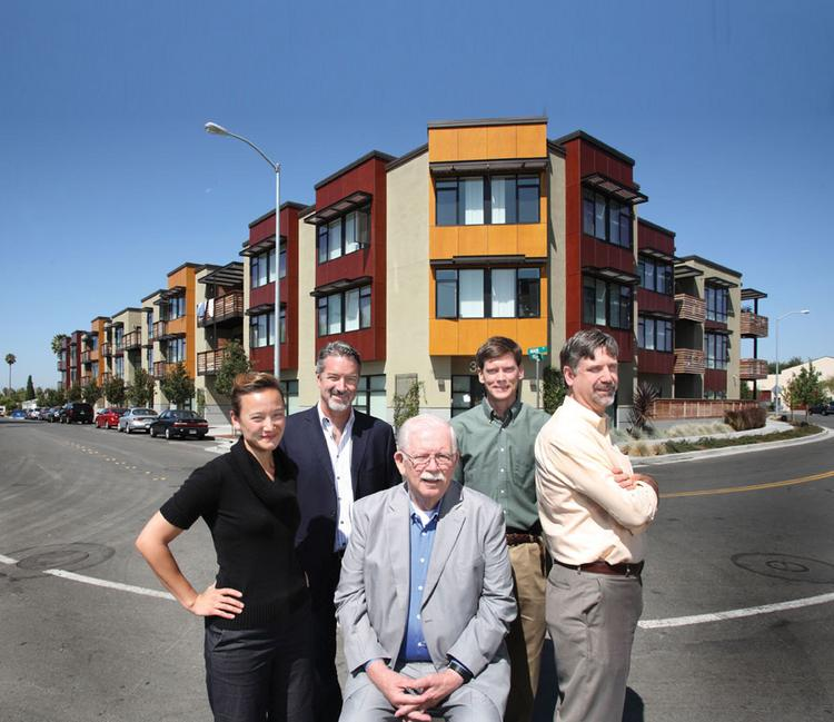 Project principals, left to right, Lillian Lew-Hailer and Matthew Franklin of MidPen Housing, Fremont Mayor Gus Morrison and Abode Services' Jon White and Louis Chicoine gather at Main Street Village, a low-income housing project in the Irvington District of Fremont.
