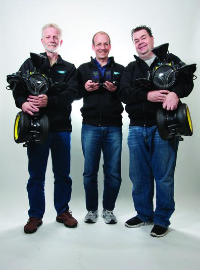 Gadgets and toys: The team at OLogic was designing robots for other companies until they designed their first product, above left, Oddwerx. From left, above are COO Bob Allen, tech VP Brandon Blodget and CEO Ted Larson.