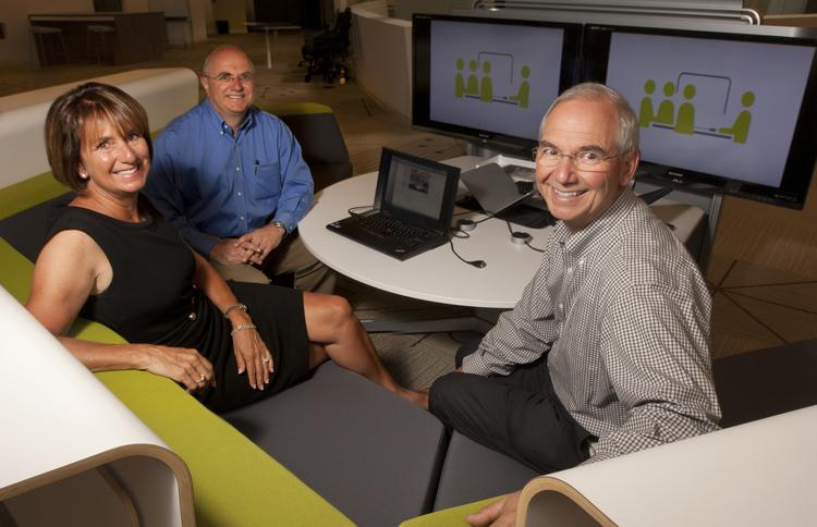 Take a seat: One Workplace family members Julie Jarvis, executive vice president, President Dave Ferrari and CEO Mark Ferrari carry on their parents' business. This year the company expects revenue to increase 23 percent to $200 million.