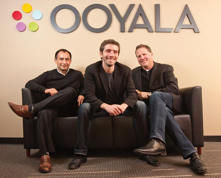 Ooyala will probably need to look for a campus-size facility by year's end, according to co-founder Bismark Lepe, left. With him here are tech chief Sean Knapp, center, and CEO Jay Fulcher.