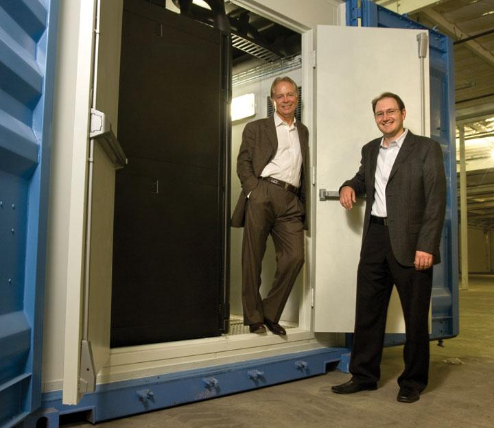 Les Pelio, left, and Jon Shank from Pelio & Associates are implementing a new approach to data centers — a module setup using shipping containers.