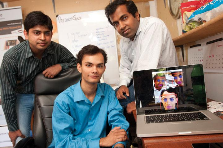 From left, Aakash Jain, Saurav Kumar and Abhilekh Agarwal have created software that follows users' eye movements across a website. It can be used to track whether people look at ads or allow people to play games without controls.