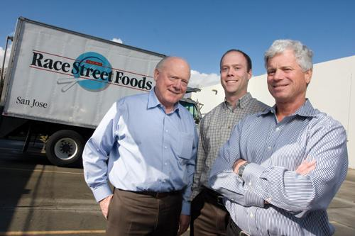 Jim Riparbelli, left, his son Brian Riparbelli, center, and Dan Barsanti are part of the multi-generation family business success that most in San Jose identify with their Race Street market and restaurant that only accounts for 8 percent of its total revenue.