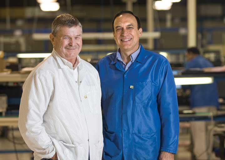 From left, ZF Array's CEO Robert Zinn and SMTC VP and GM Rich Camarda at the SMTC factory, which is expected to hold the combined company's 125 employees after the merger.