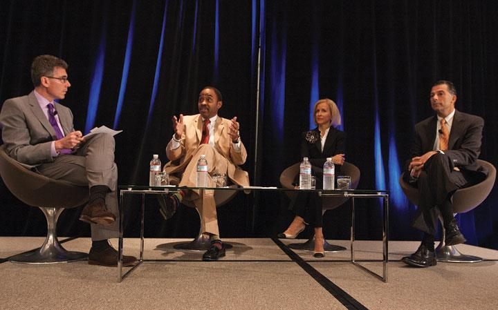 The panel, from left, was moderated by Business Journal Publisher James MacGregor and included Silicon Valley Community Foundation's Emmett Carson, Montalvo Arts Center's Angela McConnell and KPMG's Tim Zanni.