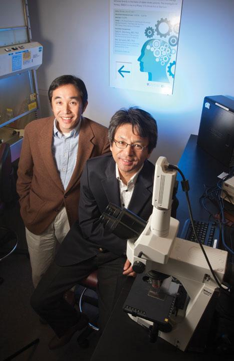 Toru Kawanishi (left) and Keita Mori, co-CEOs of SanBio, are testing a cell therapy that could provide patients help up to three years after a stroke occurs.