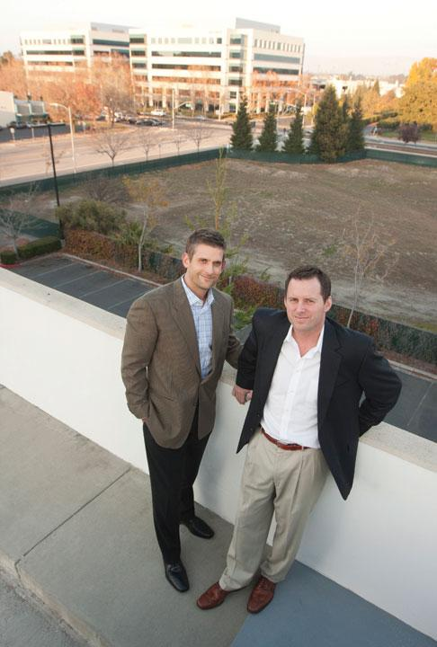 From left, Scott Connelly, Barry Swenson development manager, and Mike Black, director of development, are working on a future Marriott Hotel in San Jose.