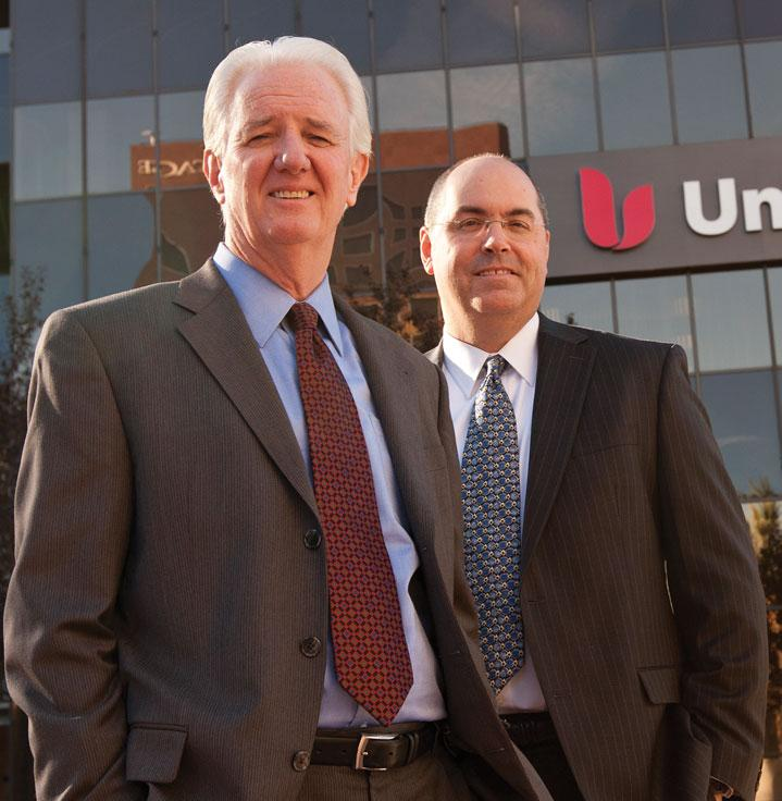 Union Bank execs Michael Riley, left, and Bill Bloore talk about banking competition for clients in Silicon Valley.
