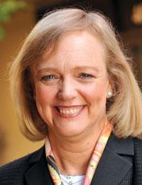 HP CEO Meg Whitman posted a historic loss on Wednesday after writing down billions in the company's services unit and taking a big charge for job cuts. The company also lowered its outlook for the year that ends in October, citing slow PC and data center server sales.