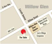 Restaurant hub? The Table will be joined by two new restaurants at nearby project Willow Glen Town Square and other existing establishments (map shows sampling).