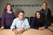 Part of the Pharmacyclics team includes, from left, EVP Alliances & Operations Maria Fardis, CEO Robert Duggan, Chief Medical Officer Lori Kunkel and Chief Operating Officer Maky Zanganeh. The company allied with a subsidiary of Johnson & Johnson Services Inc. to market its anti-cancer drug.