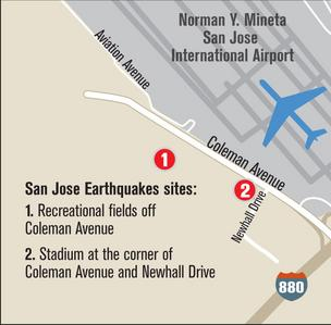 Map to San Jose Earthquakes stadium site