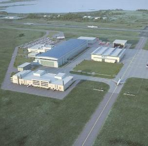A rendering of the planned Airbus factory in Mobile.