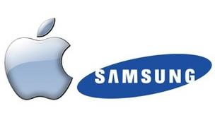 Apple and Samsung logos