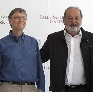 Bill Gates (left), co-founder of Microsoft, and Carlos Slim, the world's two richest individuals.