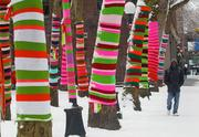 A pedestrian walks past yarn-bombed trees and light posts in Occidental Park in downtown Seattle as snow continued to fall in the city on Jan. 19.