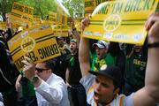 """Thousands of """"Bring back the Sonics"""" fans attend a rally at Occidental Park in Seattle on June 14. More images and story here."""