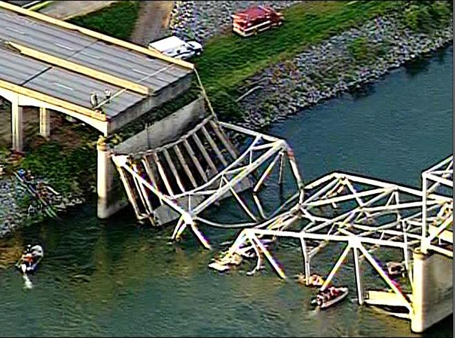 A section of an I-5 bridge North of Seattle collapsed Thursday evening.