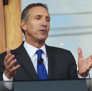 "Starbucks CEO Howard Schultz wants to help ""thaw the channels of credit so that community businesses can start hiring again."""