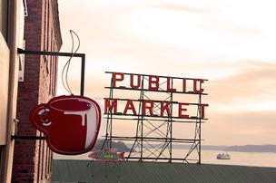 Seattle's Best Coffee sign, Pike Place Market