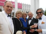Left to right: David Fluke, Dorothy Fluke, Edie Hilliard, Herb Bridge and Ian MacNeil visit during a reception at Pacific Science Center's gala on July 27.
