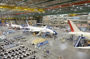 A view of 787 Dreamliner aircraft under construction for United Airlines during a media tour at Boeing Commercial Airplanes manufacturing facility on Paine Field in Everett,