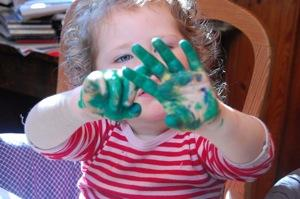 Finger painting is a typical early arts subject for children